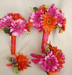 Silk Bridal Bouquets Hot Pink Orange Wedding Package by AmoreBride, $419.00