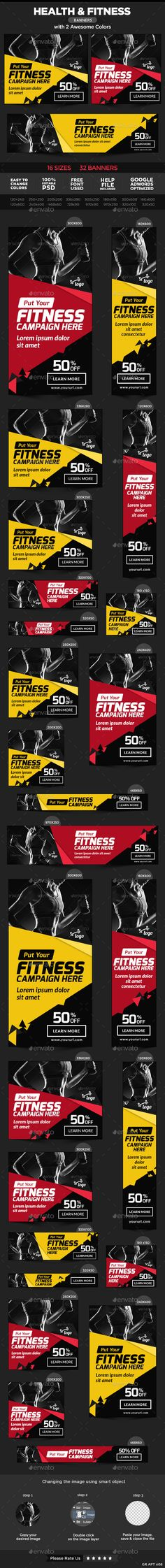 Buy Health and Fitness Banners by Hyov on GraphicRiver. Promote your Products and services related to Health and Fitness niche with this great looking Banner Set. Banner Design, Academia Fitness, Bussiness Card, Facebook Banner, Sports Graphics, Fitness Design, Social Media Banner, Dojo, Banner Template