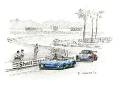 1st place finisher(s) Henri Pescarolo (& Gérard Larousse) in the Matra Simca MS670C ahead of 2nd place finisher(s) Herbert Müller (& Gijs van Lennep) in the Porsche 911 Carrera RSR Turbo at the 1974 24 heures du Mans. Pen&ink and markers on watercolour paper © Paul Chenard 2013 Limited editions available.
