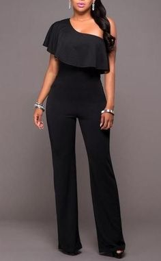 02f77ef2dd04 One Shoulder Flare Slash Neck Casual Jumpsuit. Casual JumpsuitPant  JumpsuitLong ...