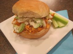 Pulled Buffalo Chicken Sandwiches with Blue Cheese Celery Slaw