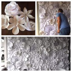 Paper flower wedding backdrop.. DIY wedding decorations on a budget.. Possible photo backdrop by Art-ty Tosaiprugsa