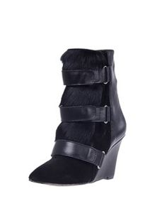 Black Suede and Leather and Calf Hair Fur Wedge Booties @ Choices $145