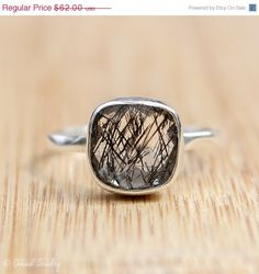 Mothers Day Sale Silver Black Rutile Quartz Ring  by OhKuol
