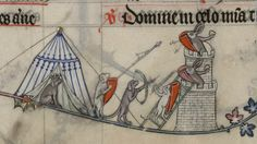 Dog King watches his dog soldiers assaulting a Rabbit castle. Pontifical of Renaud de Bar, Metz, ca. 1302-1305