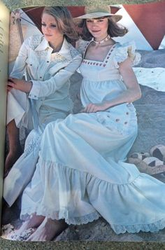 Butterick patterns from 1975. Seventeen Magazine, pattern number 3789 is the western style jacket and pants on the left, and the pinafore on the right is pattern number 3611: