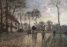 """Camille Pissarro (1830-1903) ~ """"Diligence à Louveciennes - Yvelines"""", 1870 ~ Huile sur Toile ~ Musée d'Orsay, Paris"""
