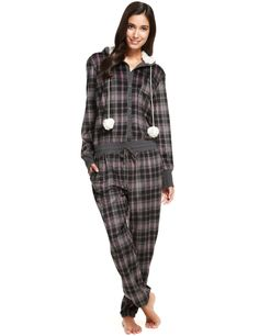 Hooded Checked Fleece Onesie
