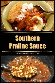 Southern Praline Sauce, with toasted buttered pecans in a thick, decadent sweet syrup, is an easy and delicious dessert topping for ice cream or pound cake! via @gratefuljb