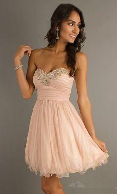 Short Blush Sequins Cocktail Dresses