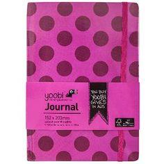 Yoobi A5 Hard Cover Journal Dot Pink 72 Page
