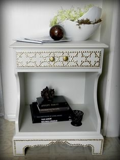 This is from decorhacks.com and this is a great, inexpensive idea.  All done with thumbtacks.  The technique does involve some measuring and drilling, but still easy to do.  I may try this on a piece of furniture that will be feasible.  But cool, right?