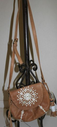 Lucky Brand Leather Crossbody With Casbah Design Embroidered #LuckyBrand #MessengerCrossBody
