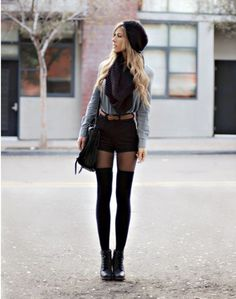 Overknee-socks, my favorite for fall Fashion Mode, Look Fashion, Fall Fashion, Fashion Tag, Trending Fashion, High Fashion, Fall Winter Outfits, Autumn Winter Fashion, Winter Shorts