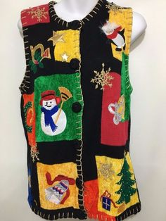 Ugly Christmas Sweater Vest Womens S Victoria Harbour Snowman Penguin Tree Bell #VictoriaHarbour