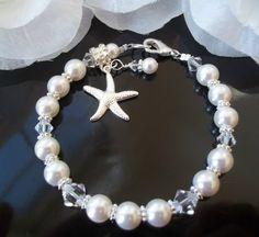 Bridal Bridesmaid BraceletSwarovski Pearls by Uniquebeadables