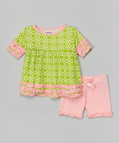 Another great find on #zulily! Meadow Lattice Tee & Ruffle Shorts - Infant, Toddler & Girls by KicKee Pants #zulilyfinds