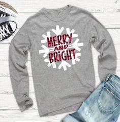 Merry and Bright Tshirt Christmas Tshirt Buffalo Plaid Tshirt Snowflake Tshirt Plus Size Holiday Tshirt Snowflake Shirt - Crazy Shirt - Ideas of Crazy Shirt - Christmas Vinyl, Christmas Shirts, Christmas Fun, Christmas Clothes, Christmas Sayings, Xmas Shirts, Winter Shirts, Christmas Stickers, Christmas Pillow