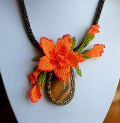 "Necklaces with beads and natural stones ""Orange Orchid"" beaded jewelery, brown, orange, beads of flowers, tiger eye stone, weaving beads"