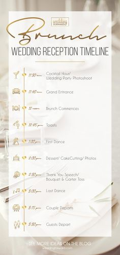 Wedding Reception Timeline: Expert Tips To Create And 3 Sample Ideas ★ – Creative Summer Wedding Tips Wedding Brunch Reception, Wedding Reception Timeline, Wedding Games, Wedding Reception Decorations, Wedding Ideas, Reception Ideas, Lobby Reception, Wedding Reception Planning, Reception Counter