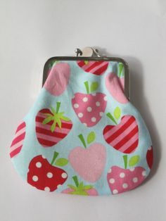 Eye Candy Coin Purse Strawberry print Double pocket by EKODEKOFI, $29.00