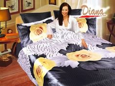 Yellow Rose, Queen Bed Silk Satin Bedding Floral Duvet Cover Set by Diana   Decorate your bedroom with abstract floral prints featuring large roses among abstract drawings of leaves. The vivid colors of the roses create a dazzling effect against the predominantly grey background.