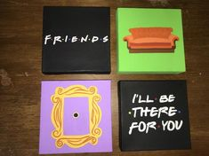 canvas art Items similar to A set of 4 Minimalistic Hand Painted Acrylic Canvas inspired by Friends on Etsy Disney Canvas Paintings, Easy Canvas Art, Small Canvas Art, Easy Canvas Painting, Cute Paintings, Diy Painting, Acrylic Canvas, Mini Canvas, Quote Canvas Art
