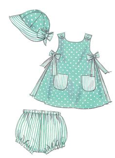 M6303 | Infants' A-Line Dresses, Panties and Hat Sewing Pattern | McCall's Patterns