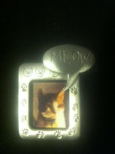 JJ vintage Meow Kitty cat picture frame pewter by KittyCattCorner, $12.99