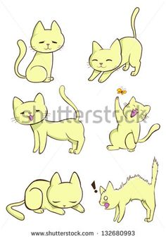 Cute cartoon female cat kitten pet in various action and expression icon, create by vector