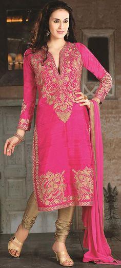 $145.05 Pink Silk Zardosi Work Churidar Salwar Kameez 26883