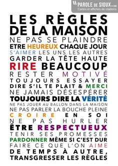 Cheap vinyl decal, Buy Quality vinyl wall art decals directly from China wall art Suppliers: LES REGLES DE LA MAISON Wall ASticker , Colorful Words French Wall Art Vinyl Decals For la famille Living Room Decoration Image Positive, Positive Attitude, The Words, French Quotes, Co Working, Learn French, Positive Affirmations, Sentences, Decir No