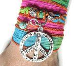 Bohemian Peace Silk Wrap Bracelet Yoga Jewelry Peace Necklace Wrist Band  Hippie Bracelet Wrapped Spiritual Unique Birthday Gift For Her/Him