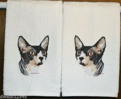 Cat Bathroom Towels | Sphynx Cat Set of Hand Bathroom Towels | Reclaimed to Fame | Pinterest