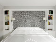 Awesome Modern Bedroom With White Color And Cool Wall Of Head Board At The Design Ideas For Bedrooms ✿