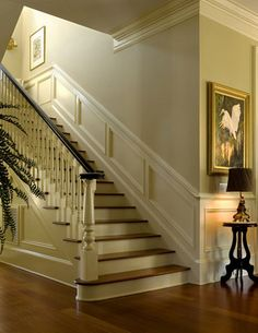 Nice moldings accentuate interior - traditional - Staircase - Charleston - Christopher A Rose AIA, ASID Home, Georgian Homes, Moldings And Trim, Remodel, New Homes, House, Traditional Staircase, Georgian Interiors, Wainscoting