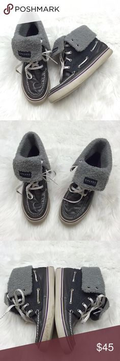 ❄️SPERRY Dark Silver/Gray Fuzzy High-Top Sneakers ~Get these hipster gray high-top SPERRY brand sneakers! ~Get a whole new kind of SPERRY's with these hips sneakers! ~These shoes feature a high_top design with a fuzzy tongue. ~These are a shimmery dark gray color. ~These have been worn a few times.  Some signs of wear.   ~These are in great condition! ~Get these now!  These will go fast! ~NO TRADES Sperry Top-Sider Shoes Sneakers