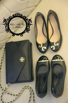 Ready Stocks  Tory Burch  Kira envelope sling bag/clutch Pacey wedges black sz 7.5 Rp.3.400.000 Lowell wedges black sz 6 Rp.3.500.000