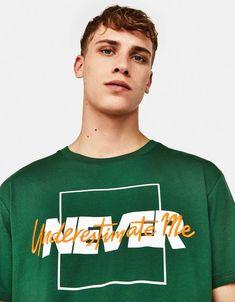 Ecologically grown cotton - T-Shirts - Bershka United States Shirt Print Design, Tee Design, Graphic Shirts, Printed Shirts, Cool Shirt Designs, Apparel Design, Mens Tees, Cool Shirts, T Shirt