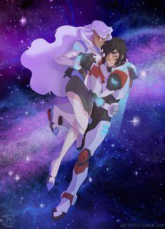 Keith and Princess Allura's romantic flight in sparkling purple stars from Voltron Legendary Defender