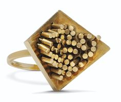 57 tiges sur 2 triangles by Pol Bury, gold articulated ring.