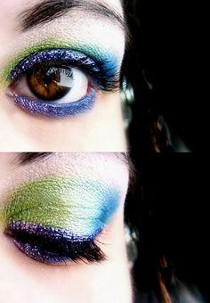 Peacock colored eyeshadow.