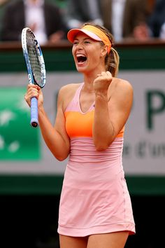 Maria Sharapova - French Open: Day 10. Maria Sharapova of Russia celebrates victory during her women's singles match against Garbine Muguruza of Spain on day ten of the French Open at Roland Garros on June 3, 2014 in Paris, France.