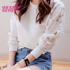 Fashion White Lace Women Blouse Long Sleeve Hollow Out Solid O-neck Ladies Blouses Sexy Casual Pullover Tops Women Shirts T12983