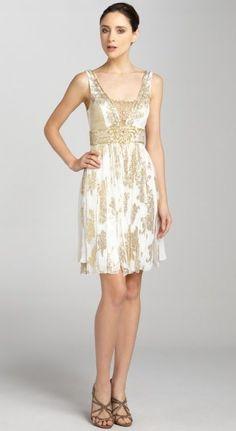 aa9a5cb7ad Sue Wong ivory and gold embellished sleeveless dress