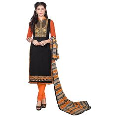 Buy Pakiza Design Black Chanderi Cotton Semi Stitched Suit by DHIRENDRAKUMAR B BUTANI, on Paytm, Price: Rs.699?utm_medium=pintrest