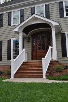 Gregarious underwent outdoor porch design read this post here Front Porch Steps, House Front Porch, Front Porch Design, Front Porches, Porch Stairs, Front Stairs, Porch Roof, Porch Overhang, Porch Railings