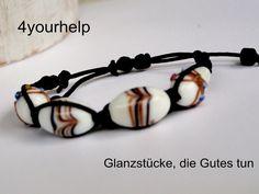 Flechtarmbänder - Flechtarmband mit Lampworkperlen - ein Designerstück von 4yourhelp bei DaWanda