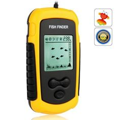 MeGooDo 100M Portable Wired LCD Display Alarm Transducer Sonar Sensor Fish Finder Round Fishfinder With 7.5m Cable,45 Degree Beam Angle, Removable Float