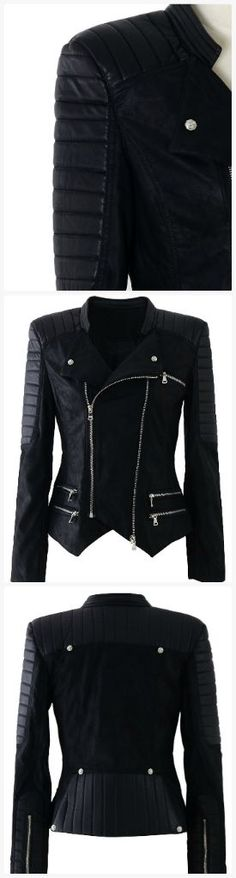 Nice Ladies Leather Jackets Faux leather zipper biker jacket... Check more at http://24store.tk/fashion/ladies-leather-jackets-faux-leather-zipper-biker-jacket/